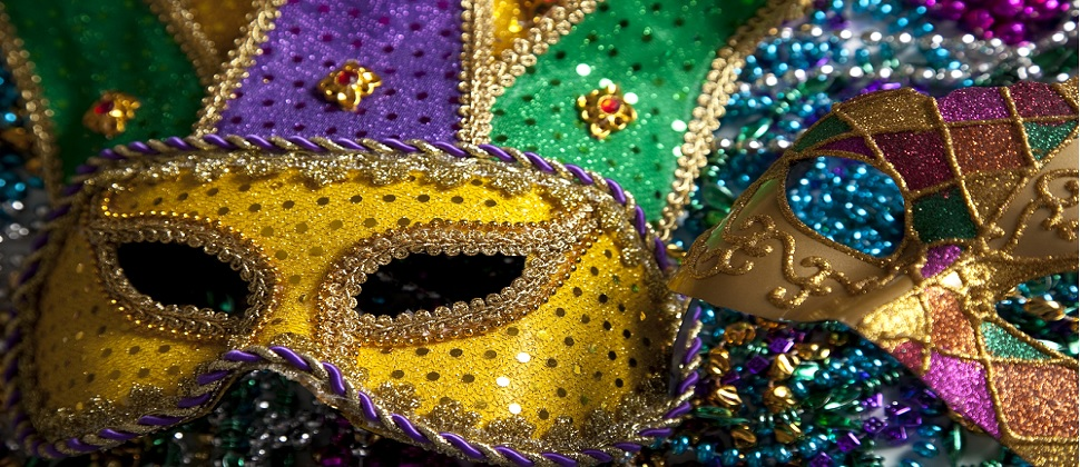 mardi gras masks with beads green gold and purple