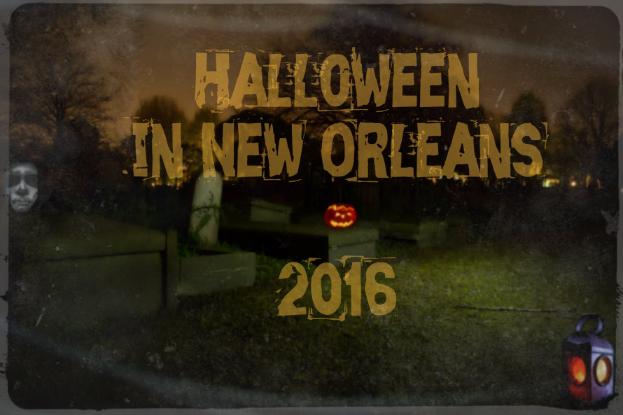 "Scary Graveyard with jack-o-lanters and skull face, words say ""Halloween in New Orleans 2016"""