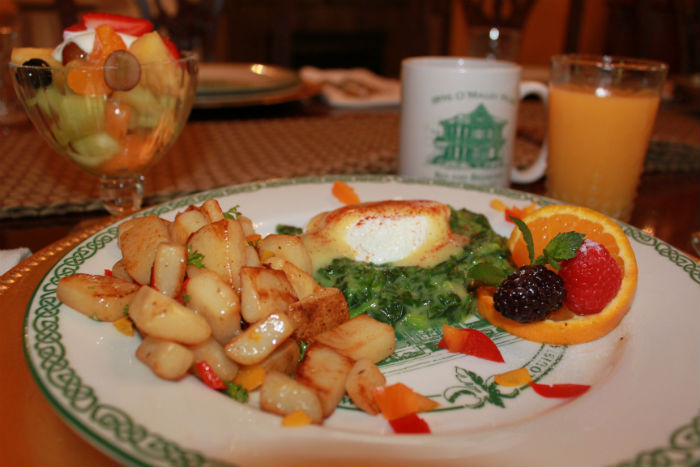 Eggs Sardou with Creole grilled potatoes