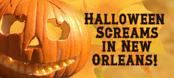 "Jack-o-Lantern on background of fall leaves with text - ""Halloween Screams in New Orleans"""
